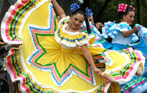 Traditional Mexican folk dancers performing during a Cinco de Mayo celebration.